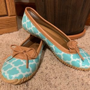Adorable rubber turquoise flats! Never worn!